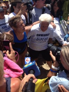 Diana Nyad on shore at Key West after 50+ hours and 103 miles swimming